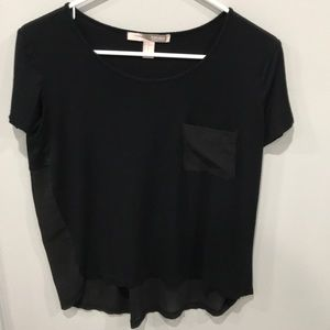 Forever21 black T-shirt with sheer pocket and back